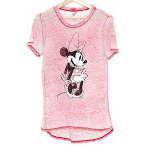 Disney Minnie Mouse Red Burnout Tee Medium BM